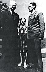 А.А. Фадеев, Юля Пушкина, Г.Г. Пушкин. Москва. 1949 г.